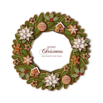 Weihnachtskranz mit lebkuchen