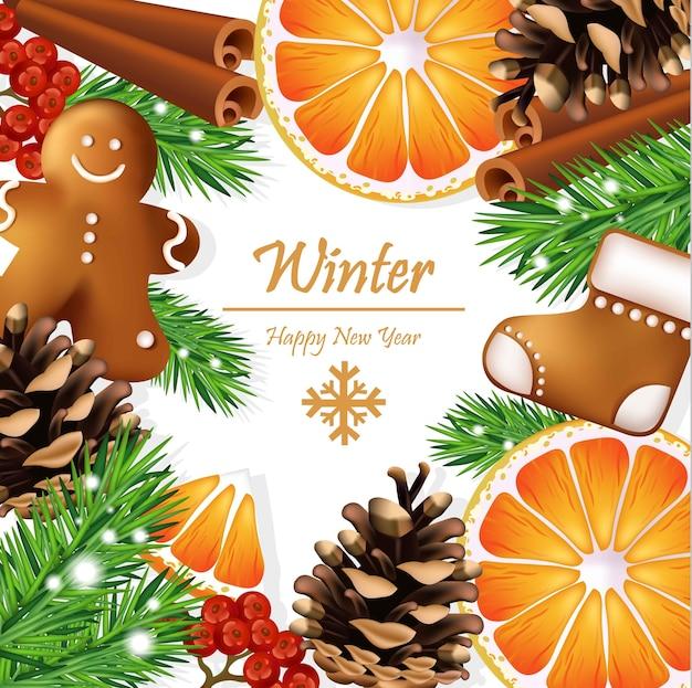 Weihnachtskranz mit lebkuchenplätzchen und orange scheiben. vektorkarten