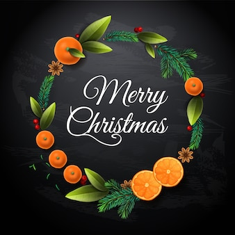 Weihnachtskranz mit mandarinen, orangenfrüchten, tannenzweigen, blättern. einladung, party, kartenvorlage, illustration.