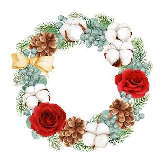 Weihnachtskranz mit rosen- und baumwollblumen