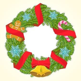 Weihnachtskranz mit roten bändern kerze und schneeflocken