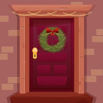 Weihnachtskranz mit roter schleife auf retro-holztür im cartoon-stil