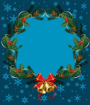 Weihnachtskranz mit stechpalme und beeren verziert