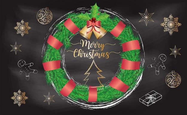 Weihnachtskranz mit tafelhintergrund