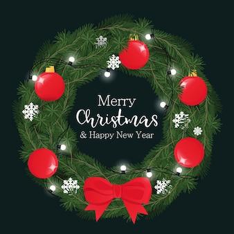 Weihnachtskranz mit tannenzweig, dekorierter girlande, kugeln und roter schleife. vektor-illustration