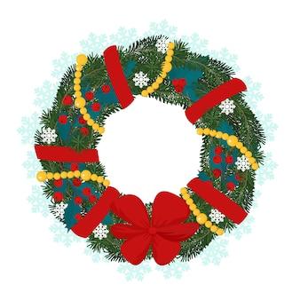 Weihnachtskranz mit tannenzweigstechpalmenbeeren verzierte girlande und rote schleifevektorillustration