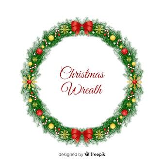 Weihnachtskranz mit zuckerstangehintergrund