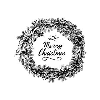 Weihnachtskranz. neujahrsdekoration. nadelpflanze mit blüten und stechpalme. winterfichte. hand