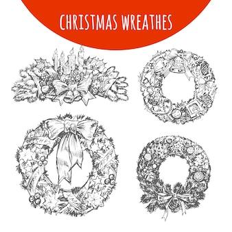 Weihnachtskranz ornament dekoration set skizze