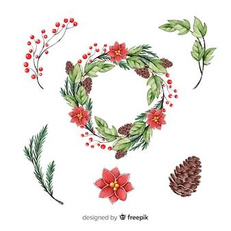 Weihnachtskranz sammlung aquarell-stil