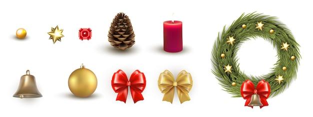 Weihnachtskranz und dekoratives gestaltungselement isoliertes set