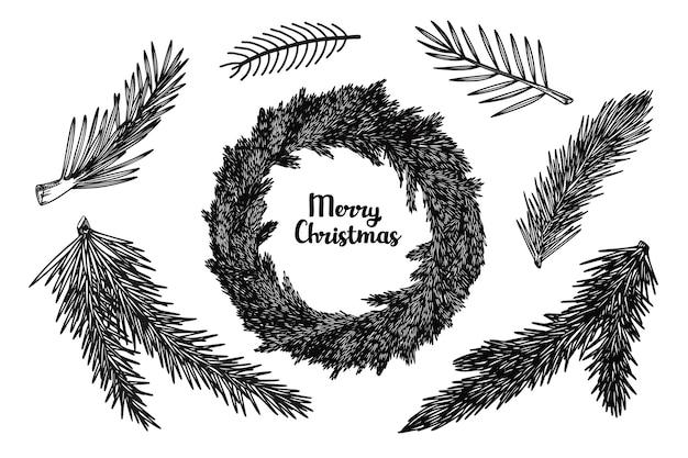 Weihnachtskranz und zweige verschiedener pflanzen isoliert. skizze, illustration von hand gezeichnet