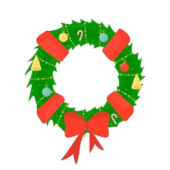 Weihnachtskranz verziert mit bögen, glocken und luftballons. flacher stil. dekoration für das neue jahr. vektor-illustration.