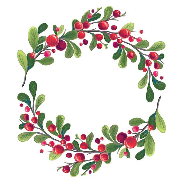 Weihnachtskranz von zweigen mit roten beeren und grünen blättern