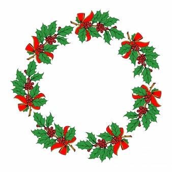 Weihnachtskranzillustration auf weiß