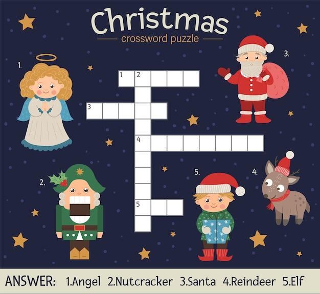 Weihnachtskreuzworträtsel. helles und farbenfrohes winterquiz für kinder. pädagogische neujahrsaktivität mit weihnachtsmann, engel, nussknacker, elf, hirsch.