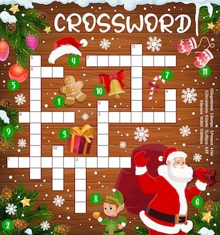 Weihnachtskreuzworträtsel mit weihnachtsmann, elf
