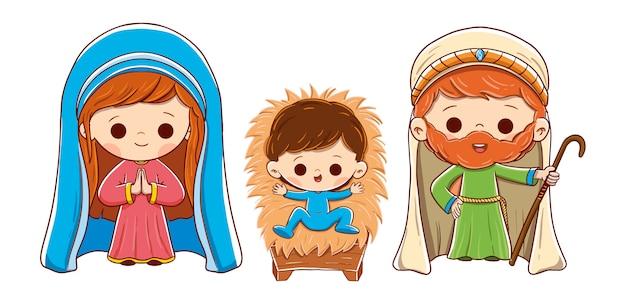 Weihnachtskrippe mit joseph, maria und jesuskind. weißer hintergrund mit entzückenden zeichnungen