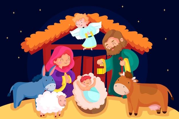 Weihnachtskrippe mit tieren und stall