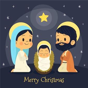 Weihnachtskrippe sternenklare nacht der frohen weihnachten