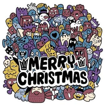 Weihnachtskritzeleien. hand gezeichnete weihnachtsillustrationen, moderne gestaltungselemente für feiertagsgrußkarte, jedes auf einer separaten schicht