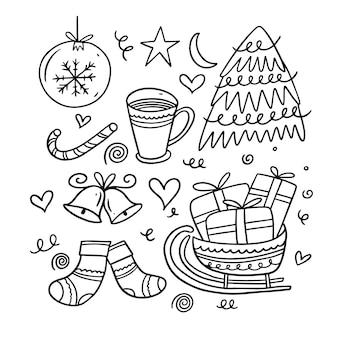 Weihnachtskritzeleienelemente. cartoon hand zeichnen färbung. auf weißem hintergrund isoliert.