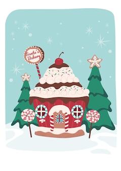 Weihnachtskuchen-lebkuchenhaus mit bäumen und süßigkeitenlutscher