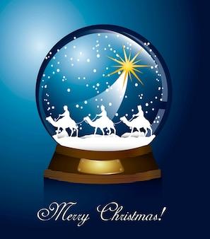 Weihnachtskugel mit kamelen über blauer hintergrundvektorillustration