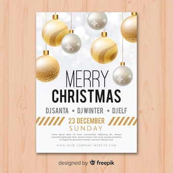 Weihnachtskugel party flyer vorlage