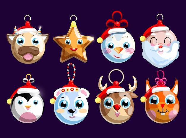 Weihnachtskugel und dekoration für feiertagskiefernsatz. hängendes weihnachtssternmaskottchen, ball mit niedlicher tierschnauze und schneemann, weihnachtsmanngesicht lokalisiert auf dunkelheit