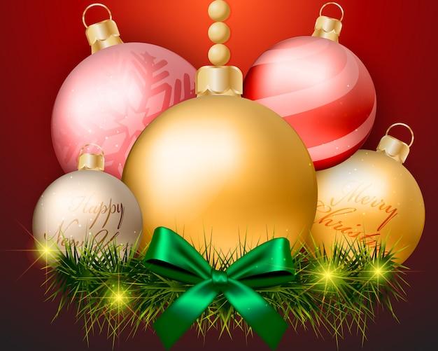 Weihnachtskugeldekorationen auf rotem hintergrunddesign