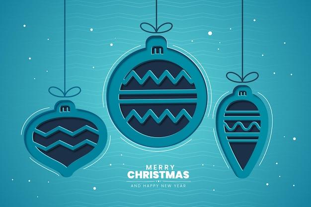 Weihnachtskugelhintergrund im papierstil