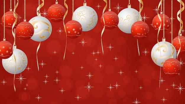 Weihnachtskugelhintergrund, rote, weiße und goldene farben