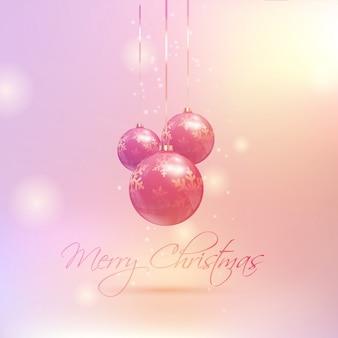 Weihnachtskugeln auf einem retro-farbigen hintergrund