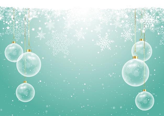 Weihnachtskugeln auf schneeflocke hintergrund