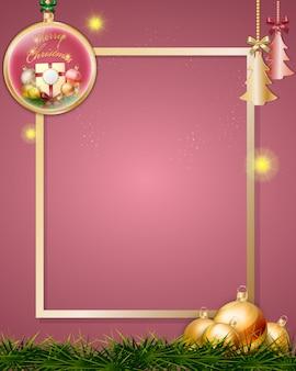 Weihnachtskugeln, die dekoration mit goldenem rahmen hängen