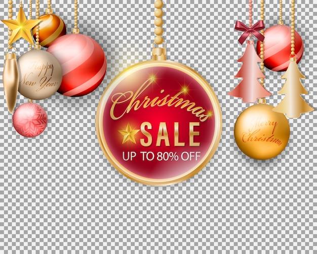 Weihnachtskugeln, die verkaufsfahnen-dekorationselement auf transparentem hintergrund hängen