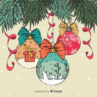 Weihnachtskugeln hand gezeichnete stil
