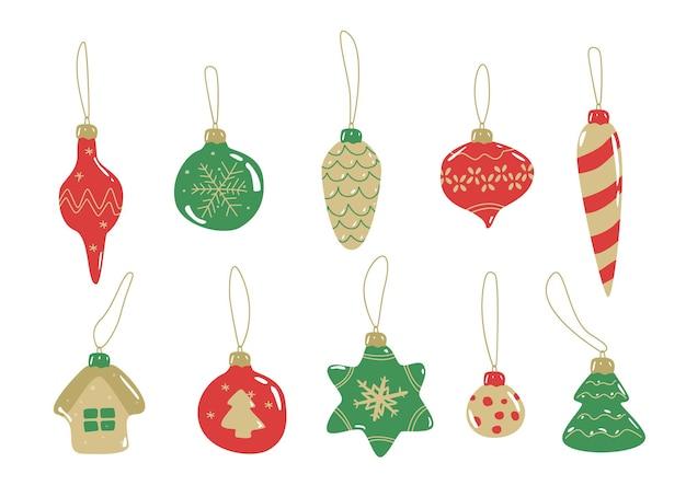 Weihnachtskugeln im doodle-stil. weihnachten glitter ball hand gezeichnet, cartoon. dekoration für c war und neues jahr. vektor-illustration