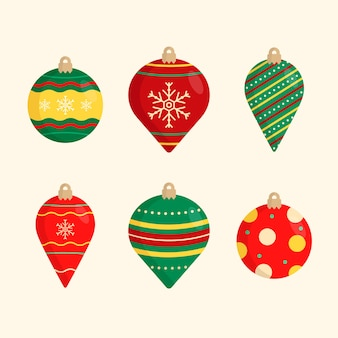 Weihnachtskugeln im flachen design