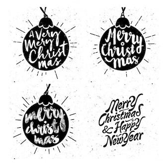 Weihnachtskugeln mit schriftzug