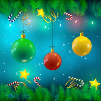 Weihnachtskugeln tanne zweige bänder bonbons sterne lichter und fallender schnee illustration