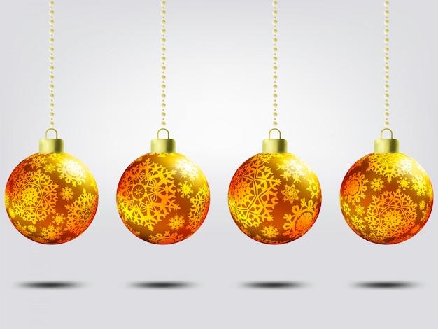 Weihnachtskugeln über elegantem hintergrund.