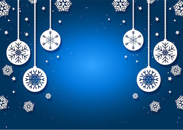 Weihnachtskugeln und schneeflocken hintergrund