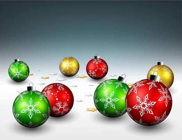 Weihnachtskugeln und sterne konfetti auf dem boden