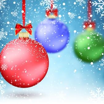 Weihnachtskugeln. weihnachtsdekorationen. weihnachtskugeln verwischen. konzept für gruß oder postkarte. vektor-illustration