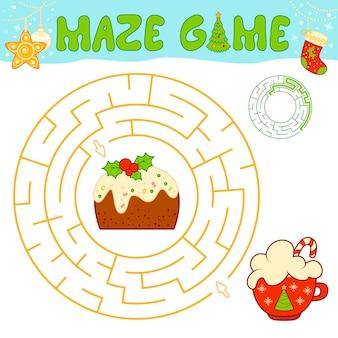 Weihnachtslabyrinth-puzzle-spiel für kinder. kreislabyrinth oder labyrinthspiel mit weihnachtskuchen.