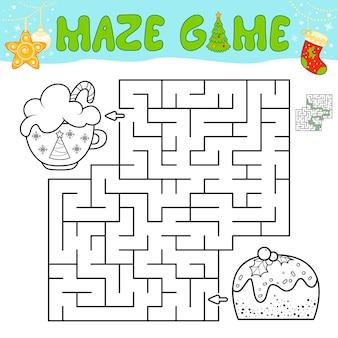 Weihnachtslabyrinth-puzzle-spiel für kinder. umriss-labyrinth- oder labyrinth-spiel mit weihnachtskuchen.