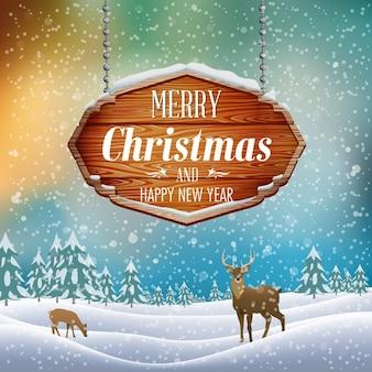 Weihnachtslandschaft mit holzschild vektor-illustration