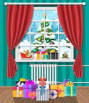 Weihnachtslandschaft mit wald im fenster. innenraum des raumes mit geschenken. frohe weihnachten szene